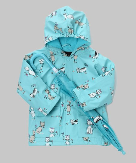 Angel Blue Kitten Raincoat & Umbrella - Infant, Toddler & Kids