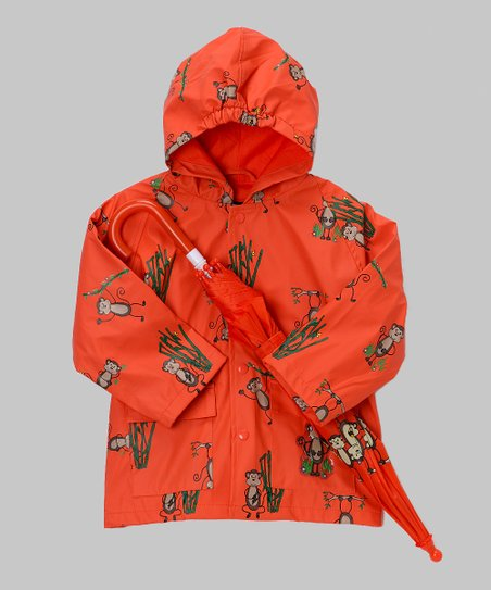 Coral Monkey Raincoat & Umbrella - Infant, Toddler & Kids