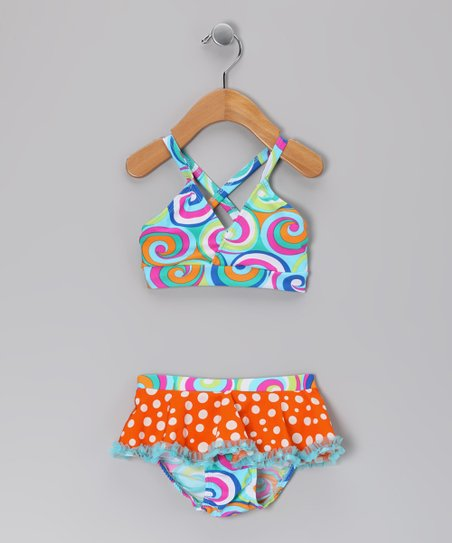 Orange Polka Dot Tidal Swirl Bikini - Infant, Toddler & Girls
