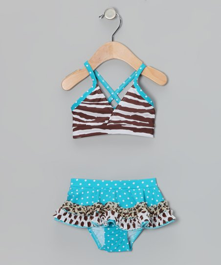 Turquoise & Brown Zebra Skirted Bikini - Toddler