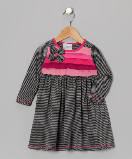 Gray Flower Corsage Dress - Toddler & Girls