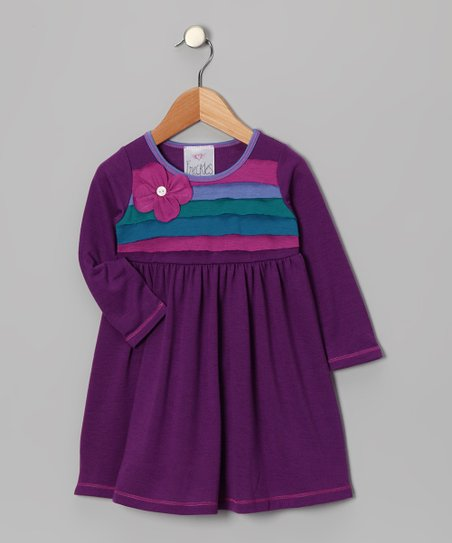 Purple Flower Corsage Dress - Toddler & Girls