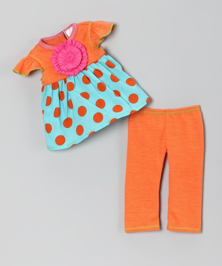Orange Polka Dot Doll Outfit