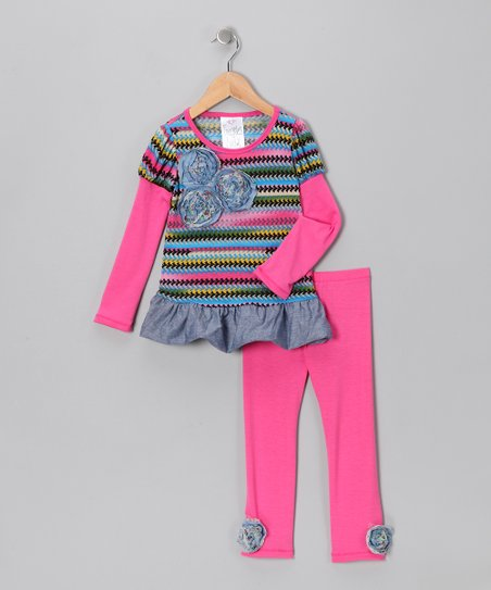 Fuchsia Zigzag Layered Tunic & Leggings - Toddler & Girls