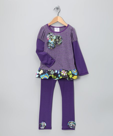 Purple Stripe Layered Tunic & Leggings - Toddler & Girls