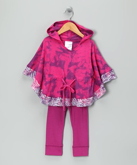 Purple Tie-Dye Cape-Sleeve Tunic & Leggings - Toddler & Girls