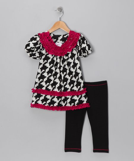 Black Houndstooth Tunic & Leggings - Girls