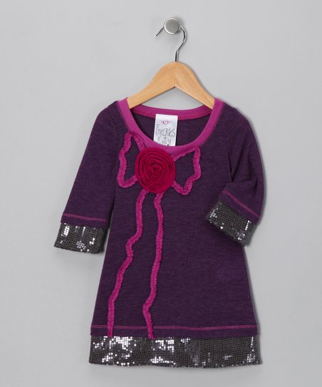 Purple Sequin Rose Dress - Toddler & Girls