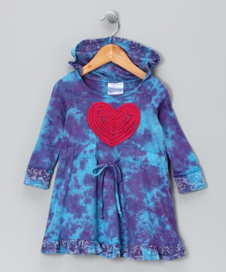 Purple & Blue Heart Tie-Dye Dress - Toddler & Girls