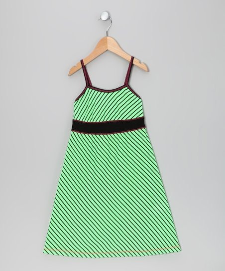 Lime Stripe Babydoll Dress - Girls