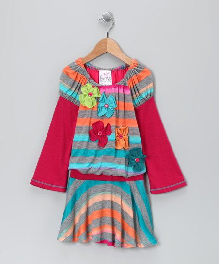 Turquoise Stripe Flower Drop-Waist Dress - Toddler