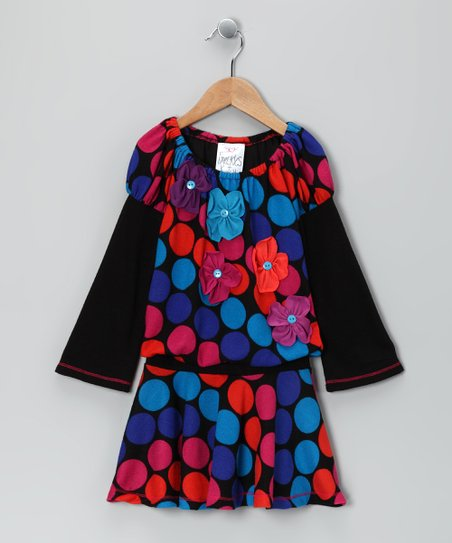 Black Polka Dot Flower Drop-Waist Dress - Toddler & Girls