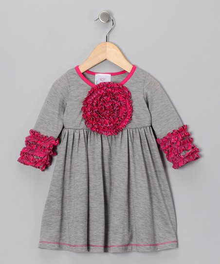 Gray Blooming Rose Dress - Toddler & Girls