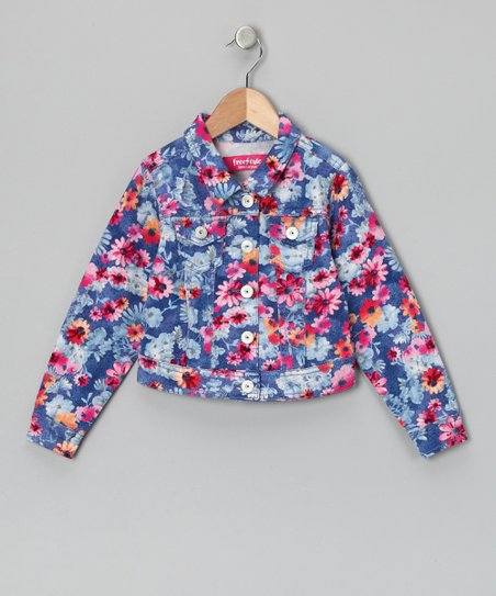 Blue & Pink Floral Top - Girls