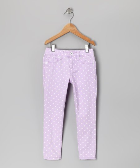 Sweet Lilac Polka Dot Skinny Jeans - Girls