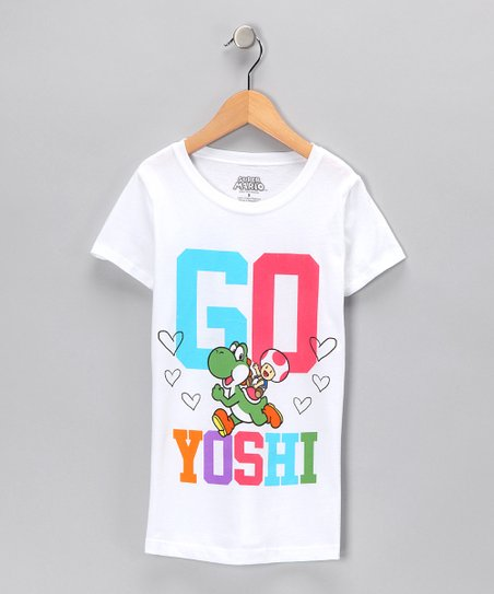White &#039;Go Yoshi&#039; Tee - Girls