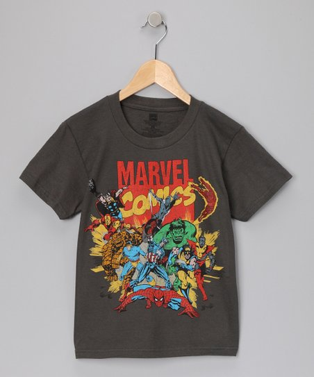Charcoal 'Marvel Comics' Tee - Kids
