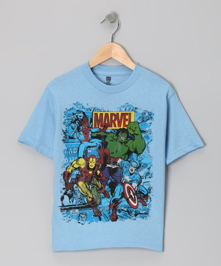 Sky Blue Marvel Superhero Action Tee - Kids