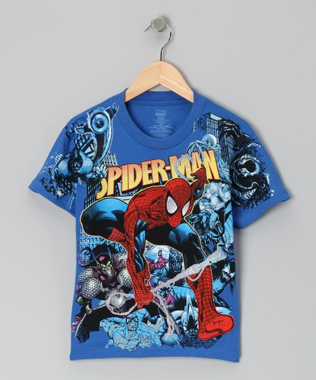 Royal Blue Spider-Man Swinging Tee - Kids