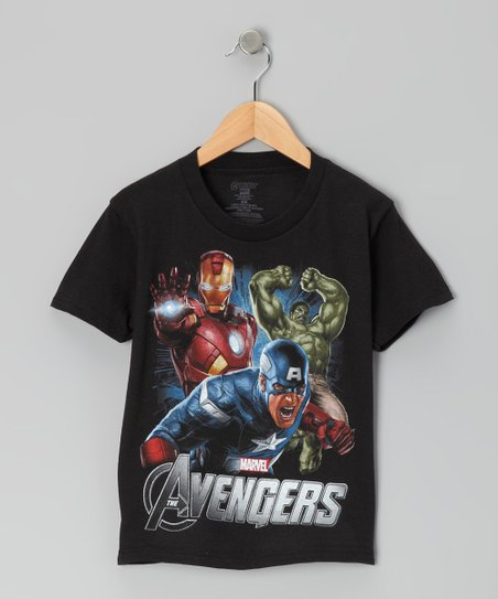 Black 'Avengers' Action Tee - Kids