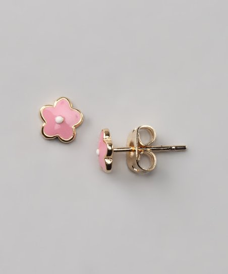 Pink & White Flower Earrings
