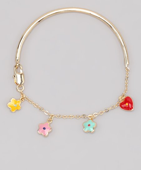 Rainbow Heart & Flower Bracelet