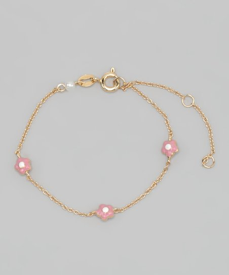 Gold &amp; Pink Flower Bracelet