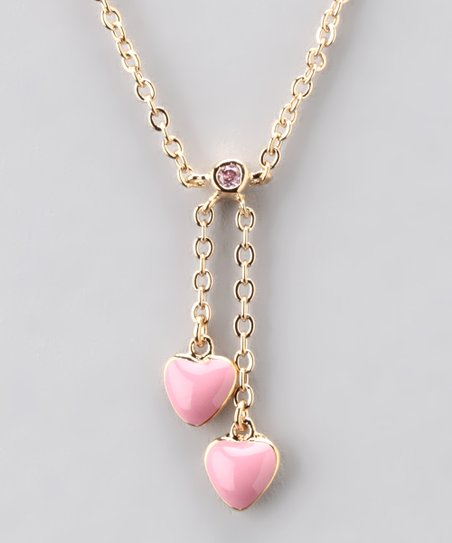 Gold & Pink Double Heart Necklace