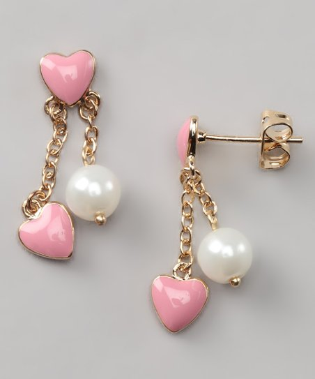 Pink & White Pearl Double Heart Earrings