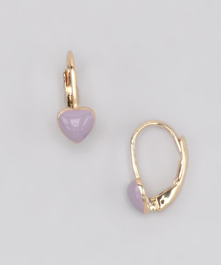Lavender Heart Earrings