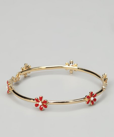 Gold & Red Daisy Bangle
