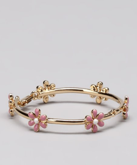 Gold & Pink Daisy Bangle