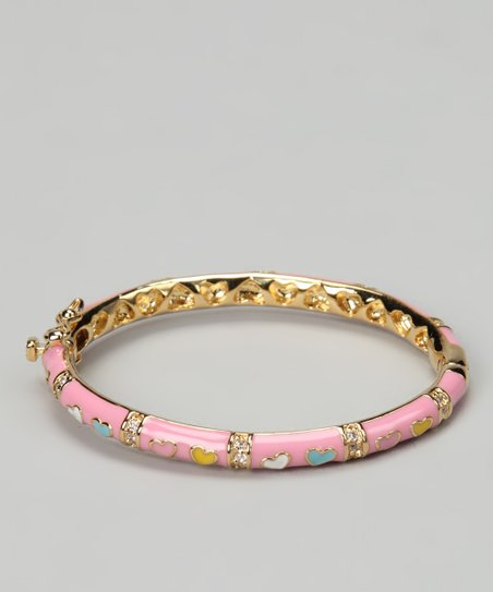 Pink & Gold Heart Bangle