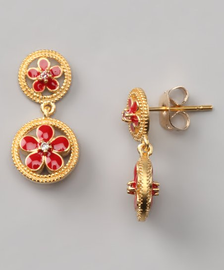 Red & Gold Flower Circle Earrings
