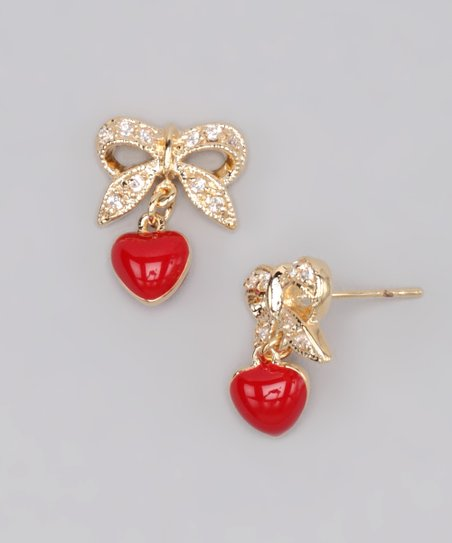 Gold & Red Heart & Bow Earrings