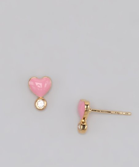 Gold &amp; Pink Heart Stone Stud Earrings