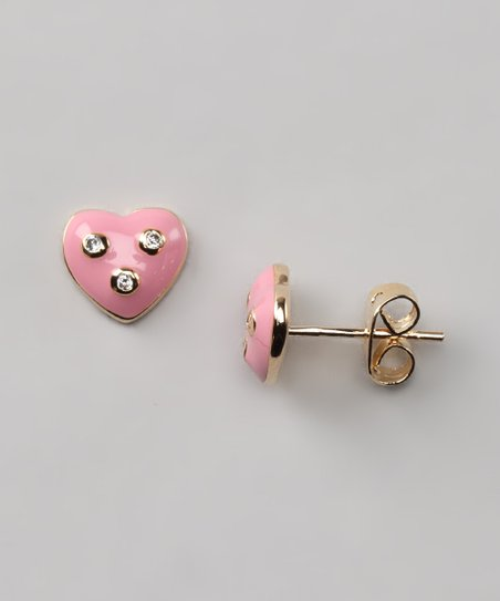 Pink & Crystal Heart Stud Earrings