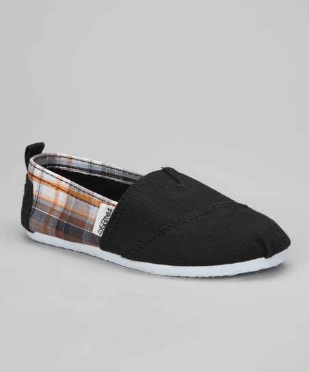 Black Plaid Slip-On Shoe