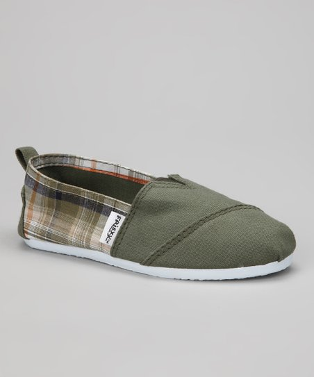 Olive Plaid Slip-On Shoe