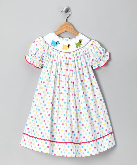 Frocks and Smocks White Puppy Polka Dot Dress - Infant &amp; Toddler