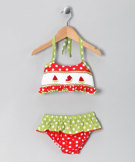 Red &amp; Green Polka Dot Bikini - Infant