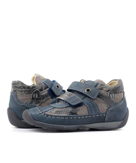 Blue &amp; Gray Double Strap Flower Shoe
