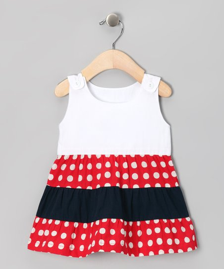 Red Polka Dot Tiered Dress - Toddler