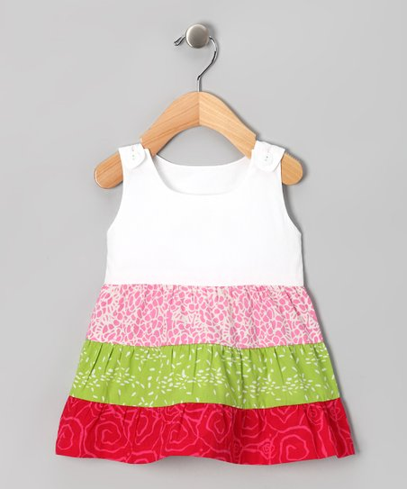White & Red Tiered Dress - Infant & Toddler