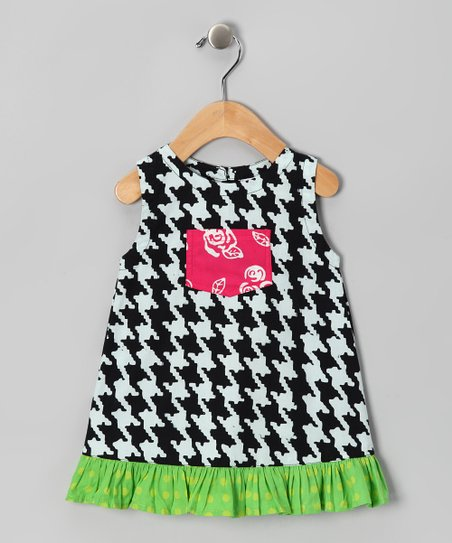 Black & Green Houndstooth Pocket Dress - Infant, Toddler & Girls