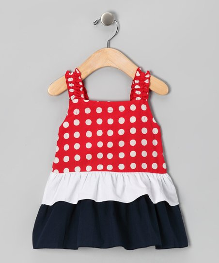Red Polka Dot Ruffle Tiered Tunic - Toddler & Girls
