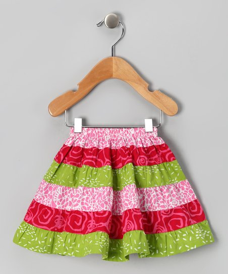 Green & Pink Tiered Skirt - Infant & Toddler