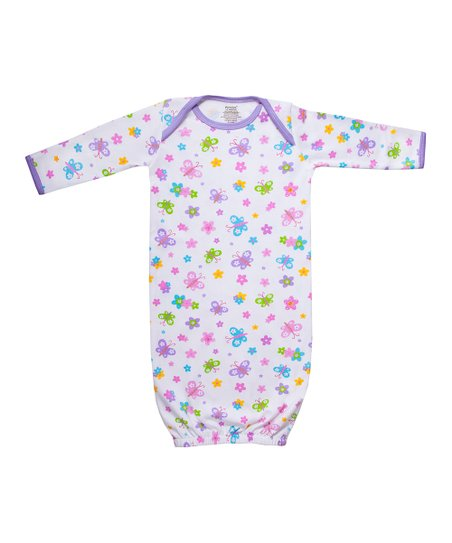 Pink Stripe Flower & Butterfly Organic Gown - Infant