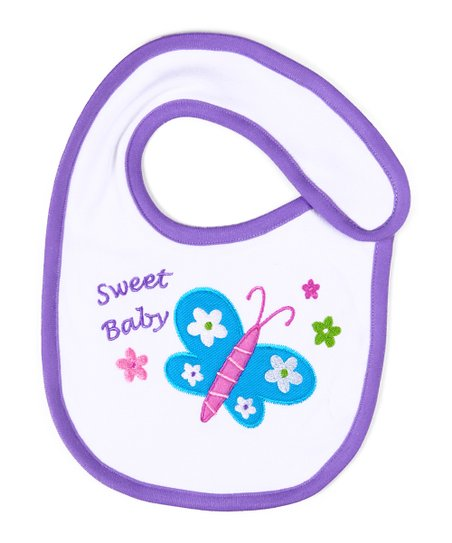 White & Purple Butterfly Organic Bib