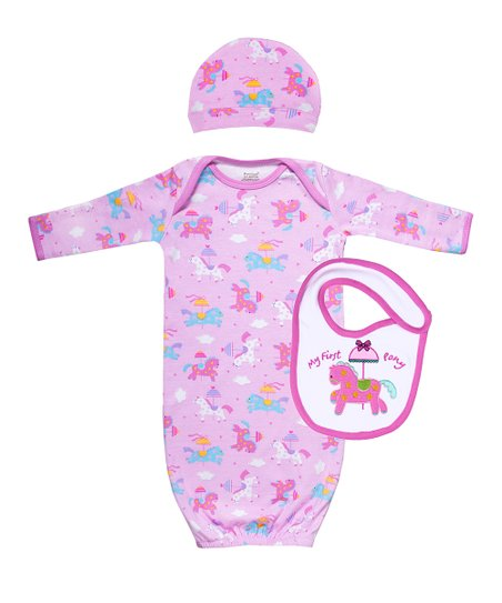 Pink Carousel Pony Organic Gown Set